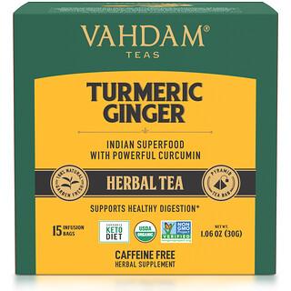 Vahdam Teas, Herbal Tea, Turmeric Ginger, Caffeine Free, 15 Infusion Bags, 1.06 oz (30 g)