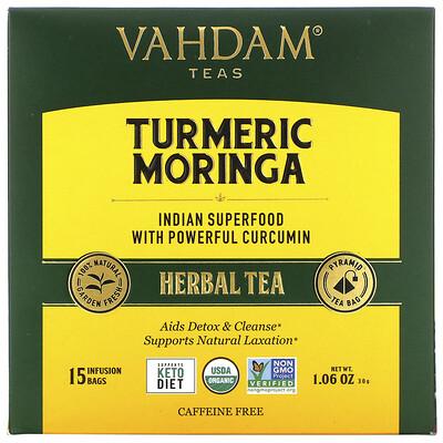 Купить Vahdam Teas Herbal Tea, Turmeric Moringa, Caffeine Free, 15 Infusion Bags, 1.06 oz (30 g)