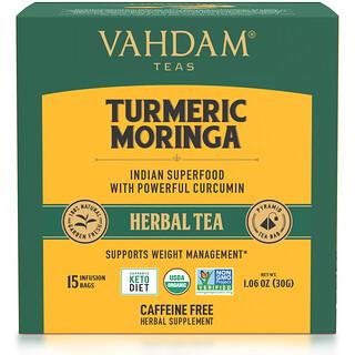 Vahdam Teas, Herbal Tea, Turmeric Moringa, Caffeine Free, 15 Infusion Bags, 1.06 oz (30 g)