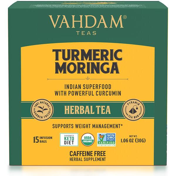 Herbal Tea, Turmeric Moringa, Caffeine Free, 15 Infusion Bags, 1.06 oz (30 g)