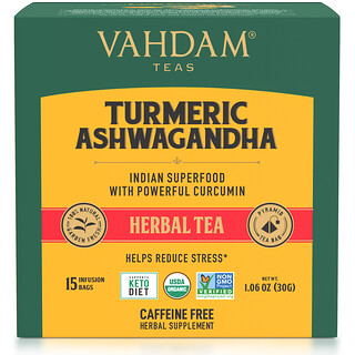 Vahdam Teas, Herbal Tea, Turmeric Ashwagandha, Caffeine Free, 15 Infusion Bags, 1.06 oz (30 g)