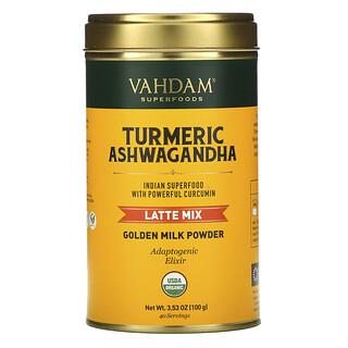 Vahdam Teas, Latte Mix, Turmeric Ashwagandha, Latte-Mischung, Kurkuma-Ashwagandha, 100 g (3,53 oz.)