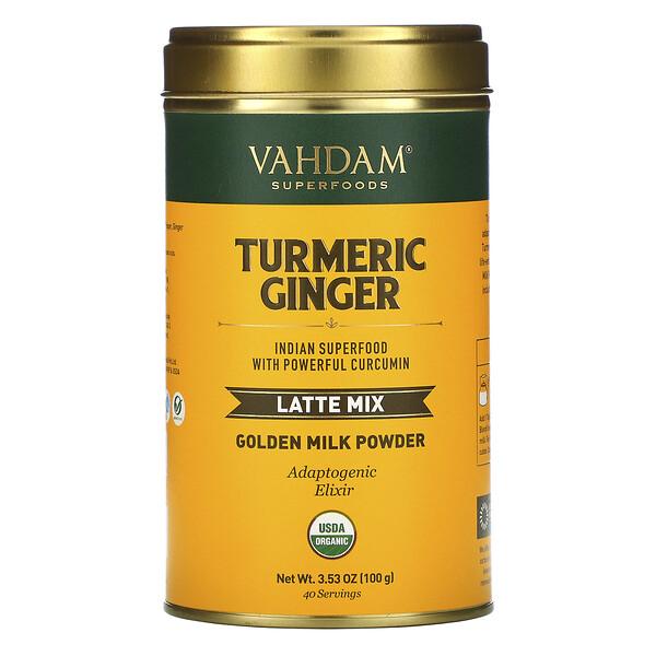 Vahdam Teas, Latte Mix, Turmeric Ginger, Latte-Mischung, Kurkuma-Ingwer, 100 g (3,53 oz.)