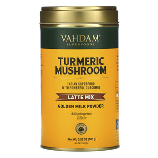 Vahdam Teas, Latte Mix, Turmeric Mushroom, 3.53 oz (100 g)