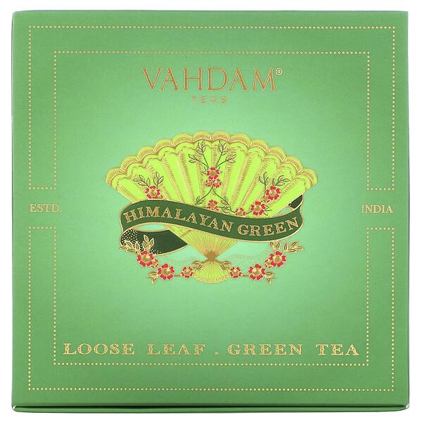 Vahdam Teas, Loose Leaf Green Tea, Himalayan Green Gift Set, 1 Tin Caddy