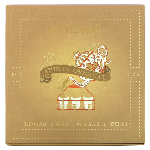 Vahdam Teas, Loose Leaf Masala Chai, India's Original Gift Set, 1 Tin Caddy