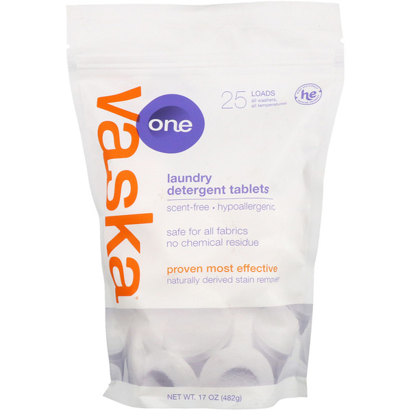 Vaska, One, Laundry Detergent Tablets, Scent Free, 25 Loads, 17 oz (482 g)