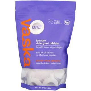 Vaska, One, Laundry Detergent Tablets, Lavender Scent, 25 Loads, 17 oz (482 g)
