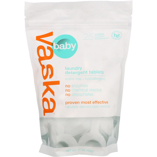 Vaska, Baby, Laundry Detergent Tablets, Scent Free, 25 Loads, 17 oz (482 g) (Discontinued Item)