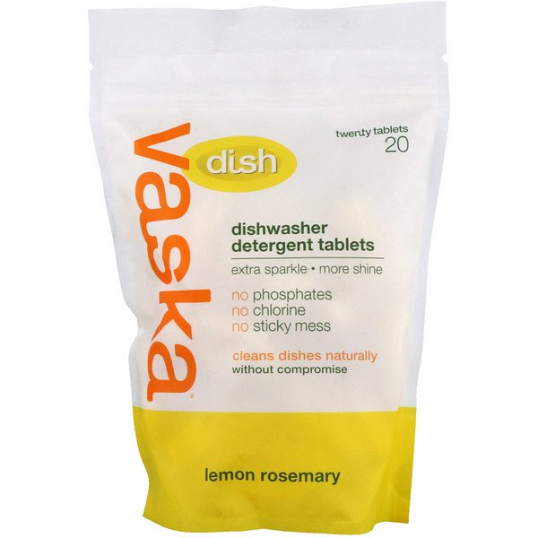 Vaska, Dish, Dishwasher Detergent Tablets, Lemon Rosemary, 20 Tablets