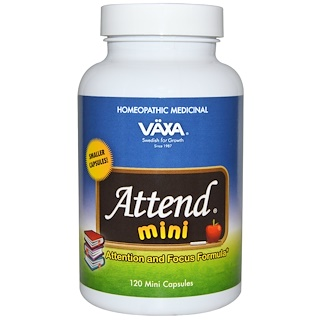 Vaxa International, Attend Mini, Attention and Focus Formula, 120 Mini Capsules