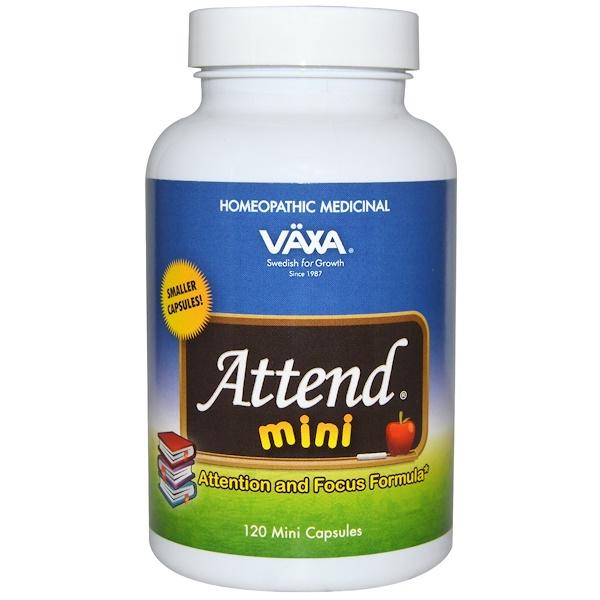 Vaxa International, Attend Mini, Attention and Focus Formula, 120 Mini Capsules (Discontinued Item)
