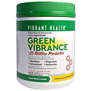 Vibrant Health, Green Vibrance +25 Billion Probiotics, Version 16.0, 25.04 oz (709.8 g)