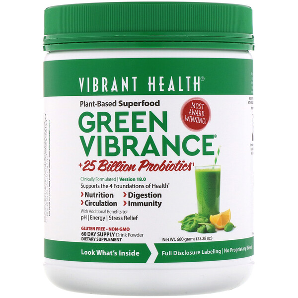 Vibrant Health, Green Vibrance +25 Billion Probiotics, Version 18.0, 23.28 oz (660 g)