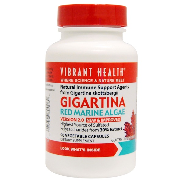 Vibrant Health, Gigartina, Red Marine Algae, Version 2.0, 90 Vegetable Capsules (Discontinued Item)
