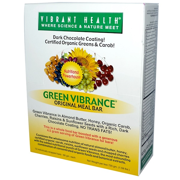 Vibrant Health, Green Vibrance, Original Meal Bar, 12 Individually Wrapped Bars, 60 g Each (Discontinued Item)
