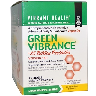 Vibrant Health, Green Vibrance +25 Billion Probiotics, Version 14.1, 15 Packets, 6.4 oz (181.5 g)
