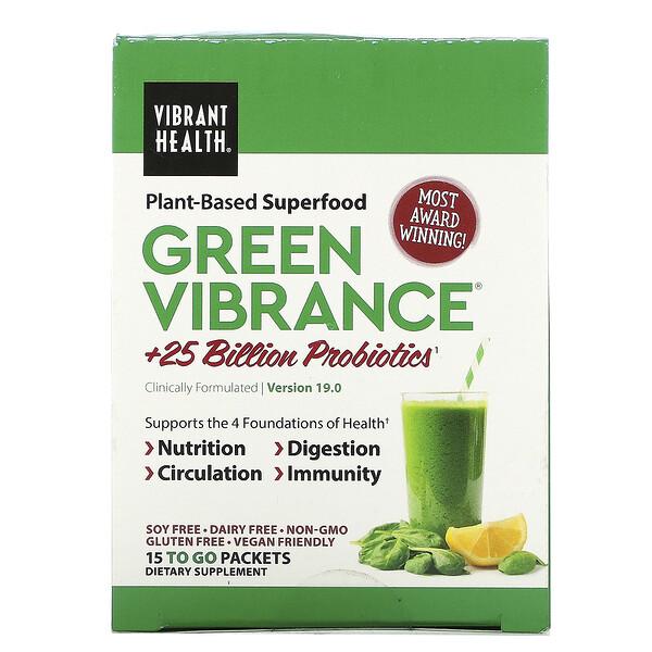 Green Vibrance +25 Mil millones de Probióticos, Versión 14.1, 15 sobres, 6.4 oz (181.5 g)