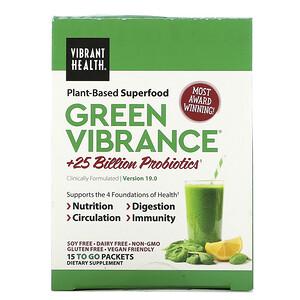 Вибрант Хэлт, Green Vibrance +25 Billion Probiotics, Version 19.0, 15 Packets, 5.96 oz (168.9 g) отзывы покупателей
