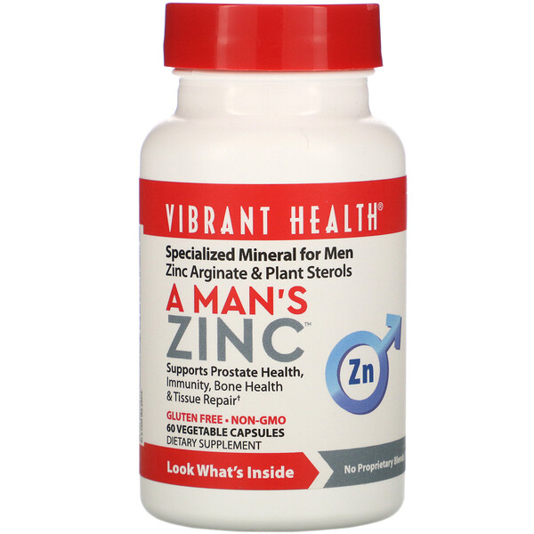 Vibrant Health, A Man's Zinc, 60 Vegetable Capsules