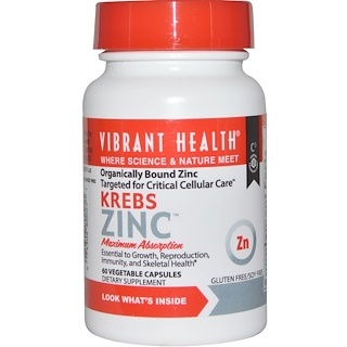 Vibrant Health, Krebs Zinc, 60 Veggie Caps