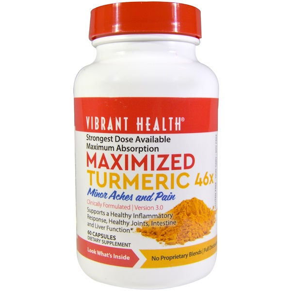 Vibrant Health, Maximized Turmeric 46x, Version 3.0, 60 Capsules (Discontinued Item)
