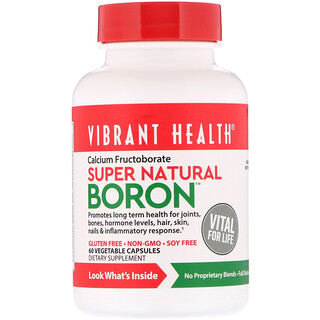 Vibrant Health, Super Natural Boron، 60 كبسولة نباتية