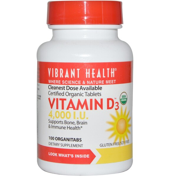 Vibrant Health, Vitamina D3, 4,000 UI., 100 organicomprimidos