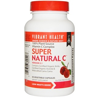 Vibrant Health, Super Natural C, Version 3.1, 60 Veggie Caps