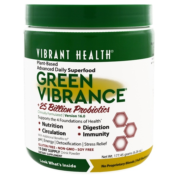 Vibrant Health, Green Vibrance +25 Billion Probiotics, Version 16.0, 6.26 oz (177.45 g)