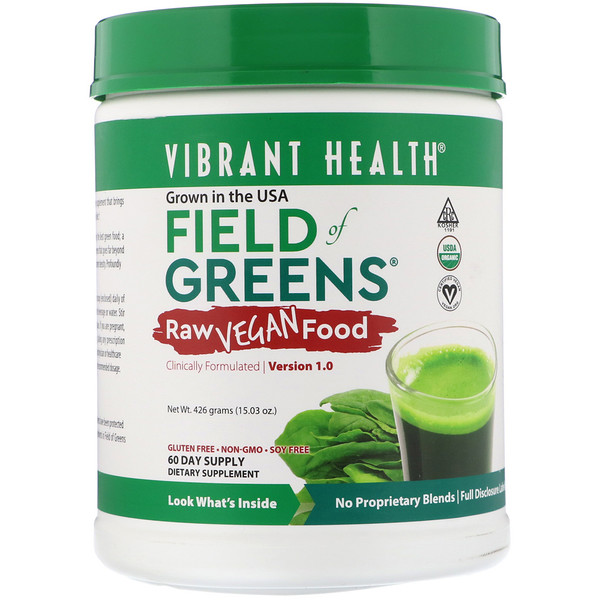 Vibrant Health, Organic Field of Greens, Raw Vegan Food, Version 1.0, 15.03 oz (426 g)