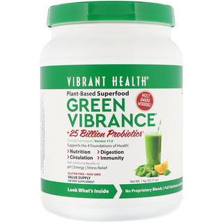 Vibrant Health, Green Vibrance +25 Billion Probiotics, Version 17.0, 2.2 lbs (1 kg)
