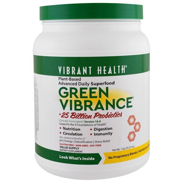 Vibrant Health, Green Vibrance +25 Billion Probiotics, Version 16.0, 35.27 oz (1 kg)