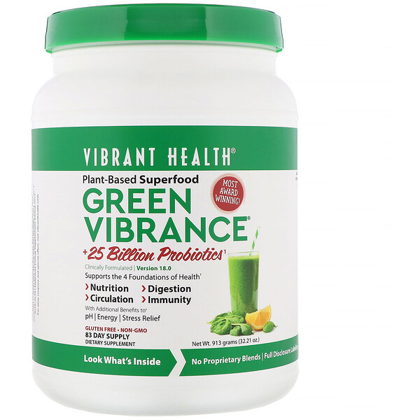 Vibrant Health, Green Vibrance +25 Billion Probiotics, Version 18.0, 32.21 oz (913 g)