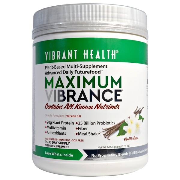 Vibrant Health, Maximum Vibrance, Version 3.0, Vanilla Bean, 1.4 lbs (626.4 g)