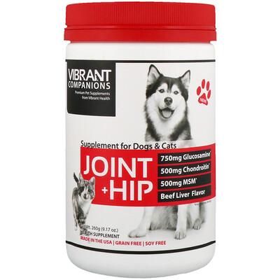 Купить Vibrant Health Суставы + тазобедренные суставы, Пищевая добавка для собак и кошек, Со вкусом говяжьей печени, 9, 17 унц. (260 г)