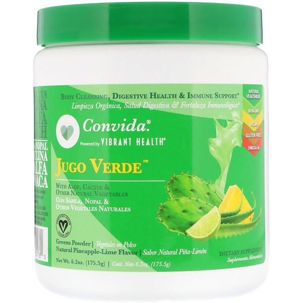 Vibrant Health, Convida Jugo Verde, Greens Powder, Natural Pineapple-Lime Flavor, 6.2 oz (175.5 g) (Discontinued Item)