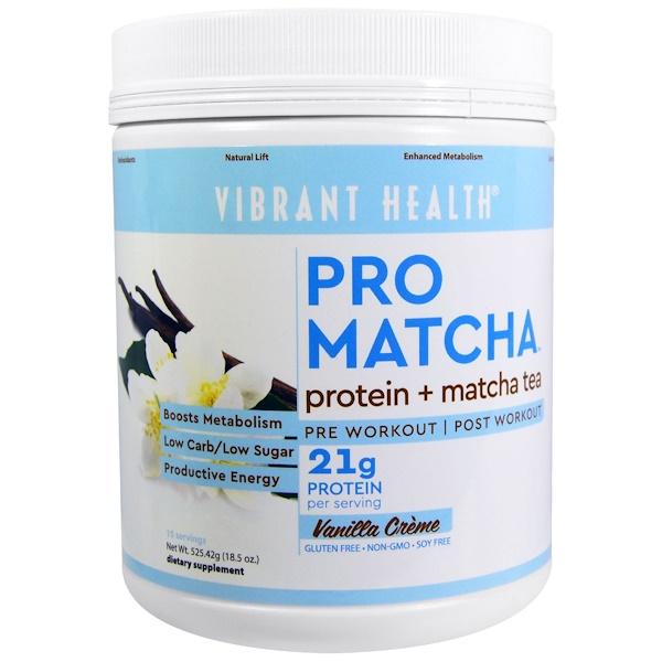 Vibrant Health, Pro Matcha, Protein + Matcha Tea, Vanilla Creme, 18.5 oz (525.42 g) (Discontinued Item)