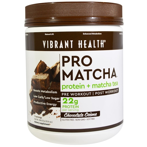 Vibrant Health, Pro Matcha, Protein + Matcha Tea, Chocolate Creme, 20.6 oz (584.07 g) (Discontinued Item)