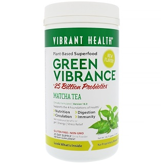 Vibrant Health, Green Vibrance +25 Billion Probiotics, Version 16.0, Matcha Tea, 11.88 oz (336.75 g)