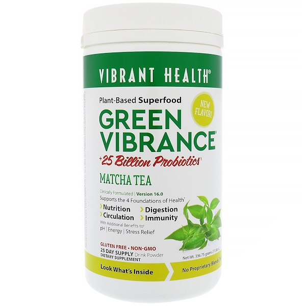 Vibrant Health, Green Vibrance +25 Billion Probiotics, Version 16.0, Matcha Tea, 11.88 oz (336.75 g) (Discontinued Item)