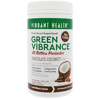 Vibrant Health, Green Vibrance +25 Billion Probiotics, Version 16.0, Chocolate Coconut, 13.23 oz (375 g)