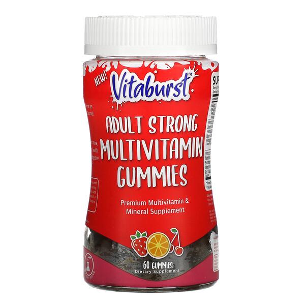 Adult Strong Multivitamin Gummies, Strawberry, Orange & Cherry Flavors, 60 Gummies