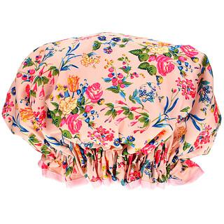 The Vintage Cosmetic Co., غطاء الشعر للاستحمام، ساتان وردي على شكل أزهار وورود، غطاء واحد