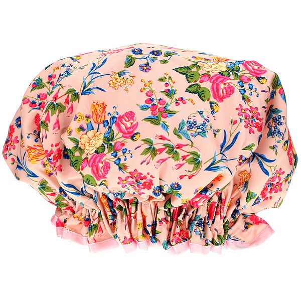 The Vintage Cosmetic Co., Shower Cap, Pink Floral Satin, 1 Count