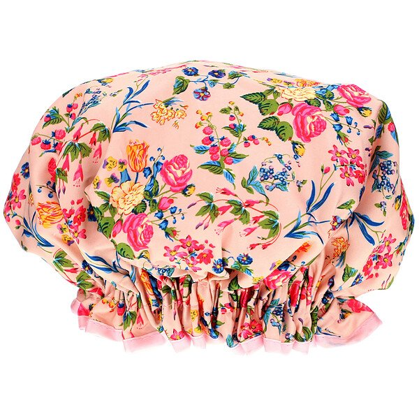 Shower Cap, Pink Floral Satin, 1 Count