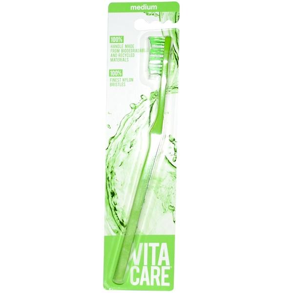 Vitacare, Toothbrush, Medium, Green, 1 Toothbrush (Discontinued Item)