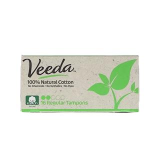 Veeda, 100% Natural Cotton Tampon, Regular, 16 Tampons