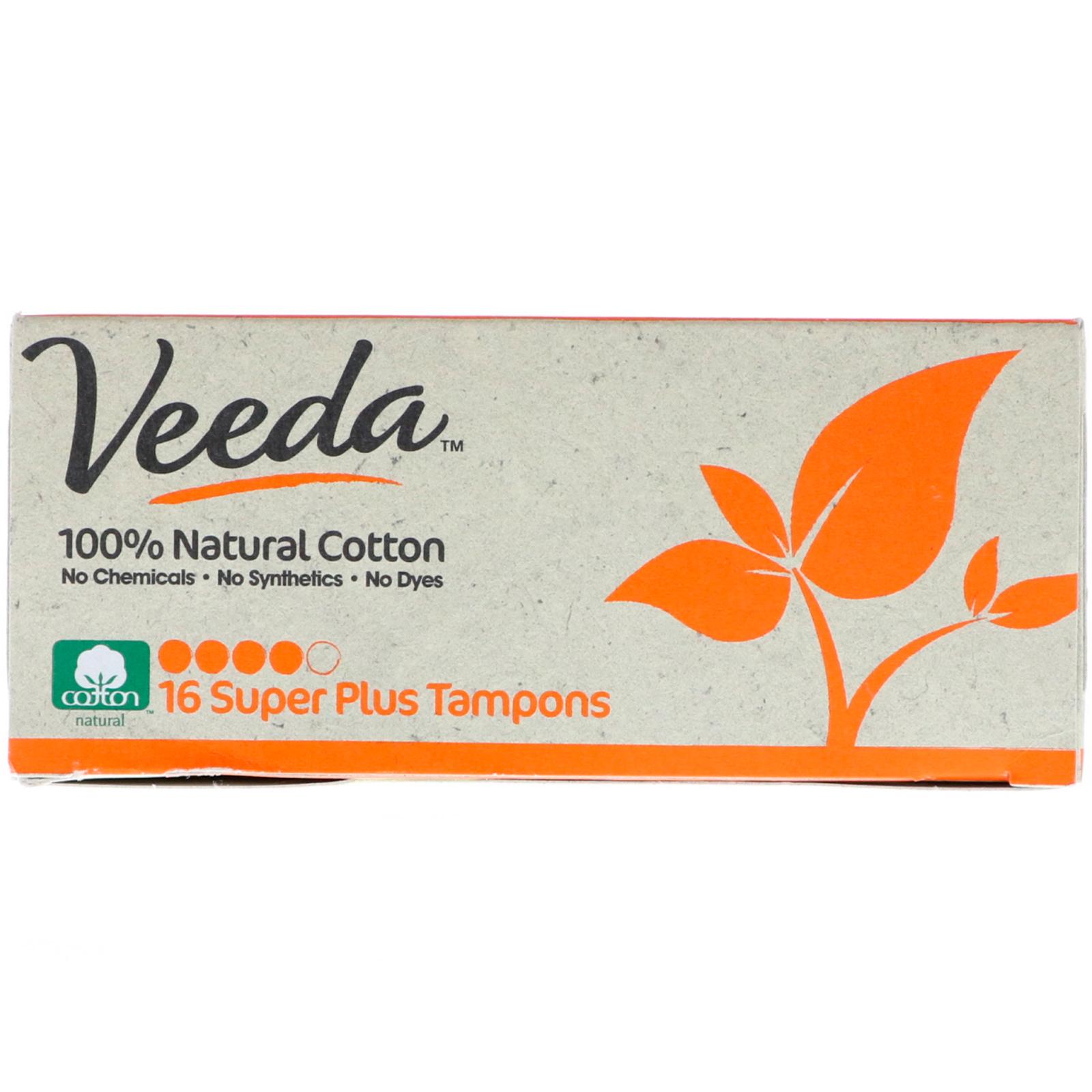 veeda 100 natural cotton tampon super plus 16 tampons. Black Bedroom Furniture Sets. Home Design Ideas