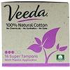 Veeda, 100% Natural Cotton Tampon with Plastic Applicator, Super, 16 Tampons